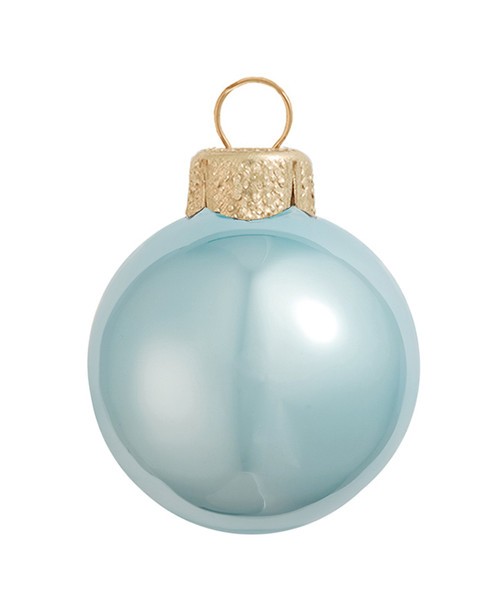 """8ct Sky Blue and Gold Shiny Pearl Glass Christmas Ball Ornaments 3.25"""" (80mm) - IMAGE 1"""