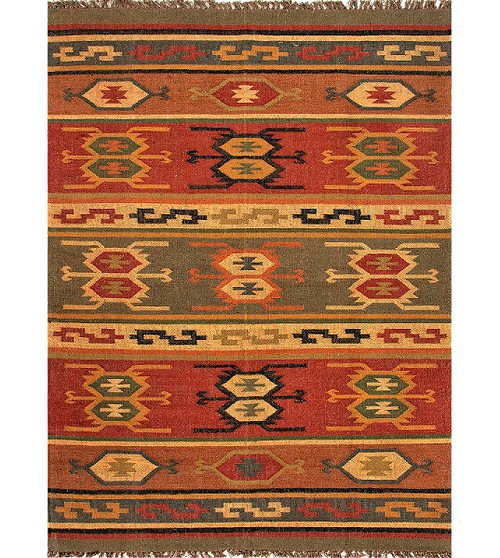 5' x 8' Red and Green Tribal Hand Woven Jute Area Throw Rug - IMAGE 1