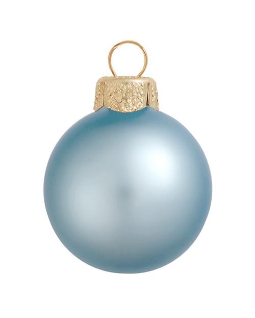 "40ct Sky Blue Glass Matte Christmas Ball Ornaments 1.25"" (30mm) - IMAGE 1"