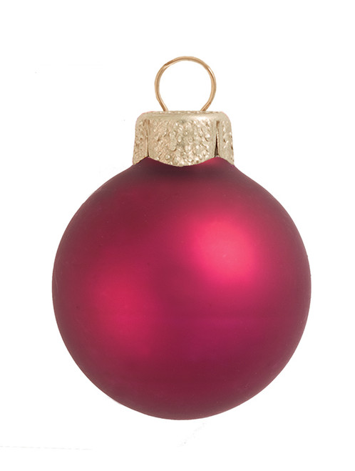 """8ct Berry Red Glass Matte Christmas Ball Ornaments 3.25"""" (80mm) - IMAGE 1"""