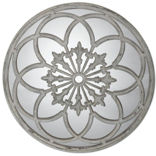 3.25' Grand Round Wall Mirror with Heavily Distressed Ornate Aged Ivory Frame - IMAGE 1