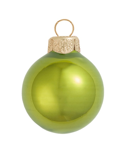 "12ct Green Kiwi Pearl Glass Christmas Ball Ornaments 2.75"" (70mm) - IMAGE 1"