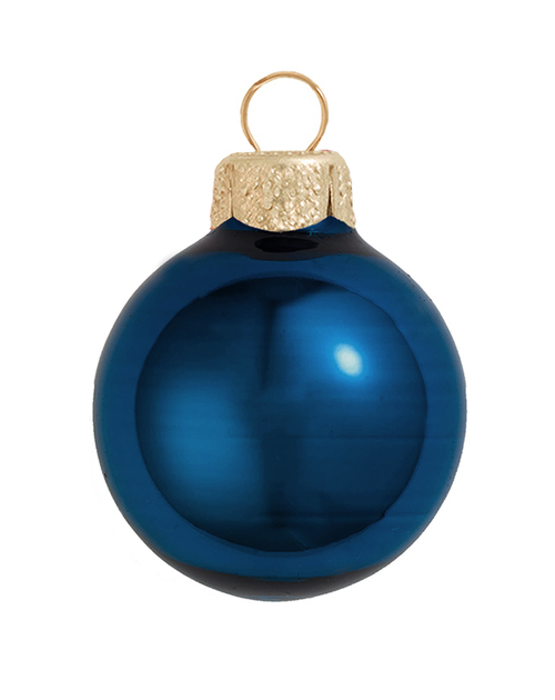 "8ct Midnight Blue Shiny Glass Christmas Ball Ornaments 3.25"" (80mm) - IMAGE 1"