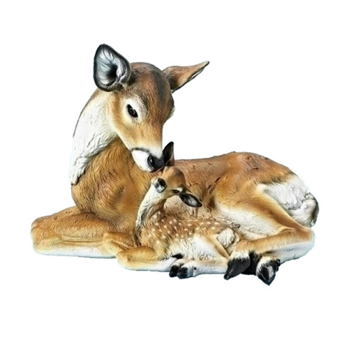 "11"" Brown and White Laying Deer and Fawn Christmas Figures - IMAGE 1"