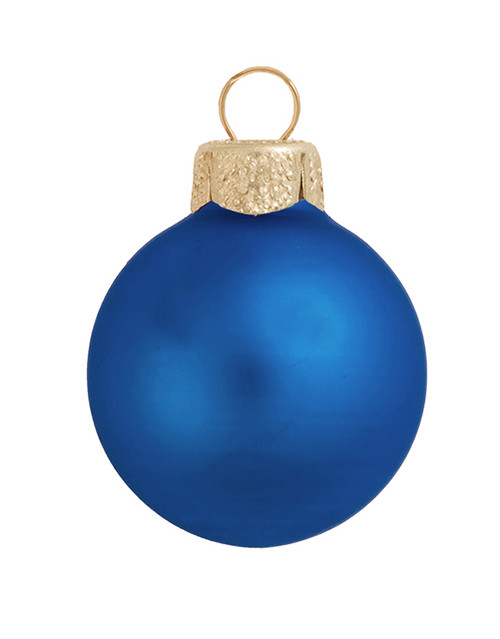 "8ct Blue and Gold Matte Glass Christmas Ball Ornaments 3.25"" (80mm) - IMAGE 1"