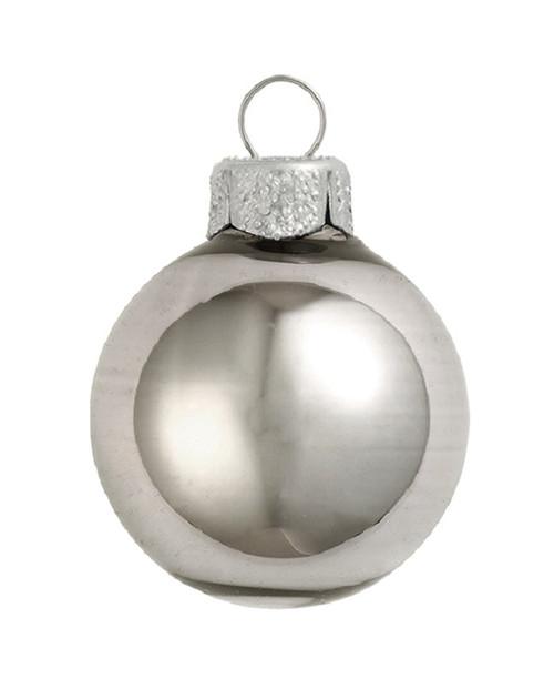 """28ct Smoke Silver Shiny Glass Christmas Ball Ornaments 2"""" (50mm) - IMAGE 1"""