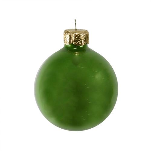 "12ct Green Pearl Glass Christmas Ball Ornaments 2.75"" (70mm) - IMAGE 1"