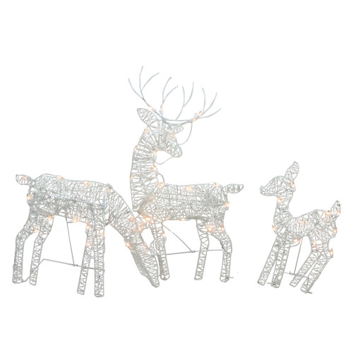 Set of 3 White Glittered Doe, Fawn and Reindeer Lighted Christmas Outdoor Decoration - IMAGE 1