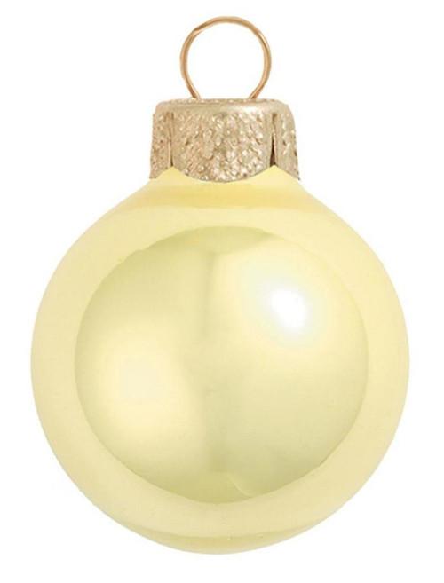 "40ct Soft Yellow Pearl Glass Christmas Ball Ornaments 1.25"" (30mm) - IMAGE 1"