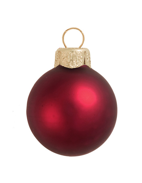 """8ct Matte Bordeaux Red Glass Ball Christmas Ornaments 3.25"""" (80mm) - IMAGE 1"""