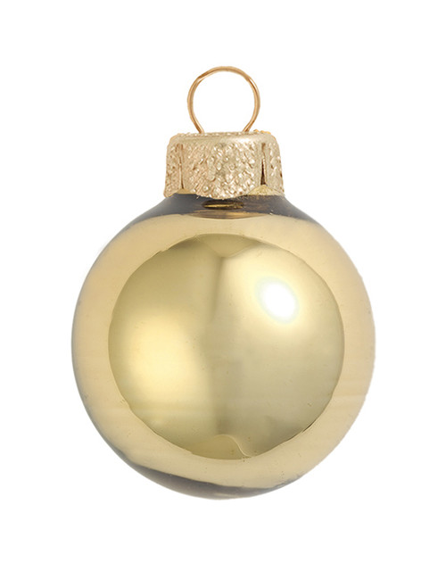 """8ct Antique Gold Shiny Glass Christmas Ball Ornaments 3.25"""" (80mm) - IMAGE 1"""
