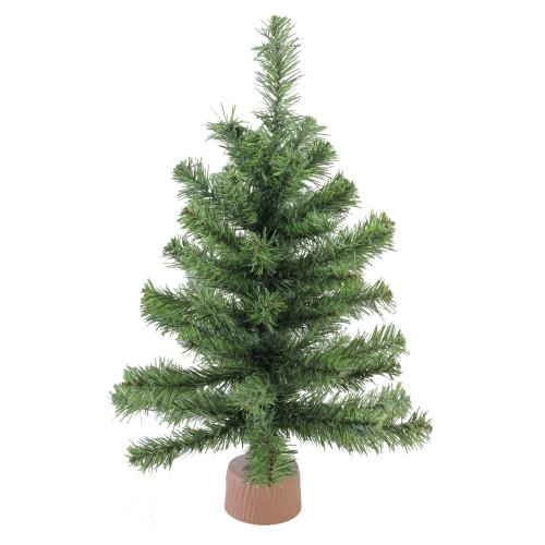 "18"" Mini Canadian Pine Medium Artificial Christmas Tree in Faux Wood Base - Unlit - IMAGE 1"