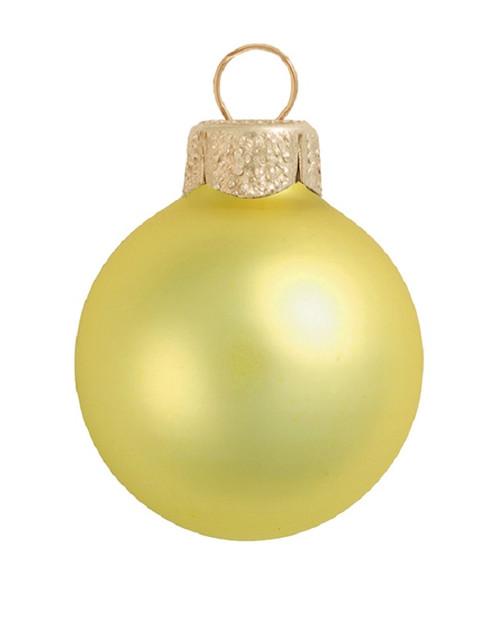 """12ct Soft Yellow Glass Matte Finish Christmas Ball Ornaments 2.75"""" (70mm) - IMAGE 1"""