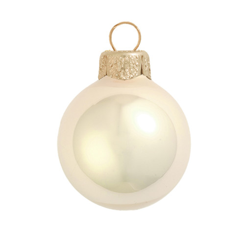 """40ct Pearl Champagne Gold Glass Ball Christmas Ornaments 1.25"""" (30mm) - IMAGE 1"""