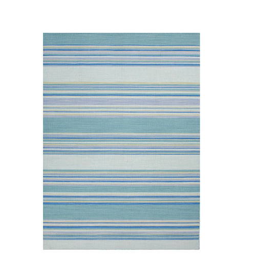 7.8' x 9.8' Turquoise Blue and Ivory Striped Flat Weave Area Throw Rug - IMAGE 1