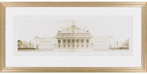 "43"" x 21"" ""Les Grand Prix de Rome II"" Ivory White Framed Wall Art Decor - IMAGE 1"