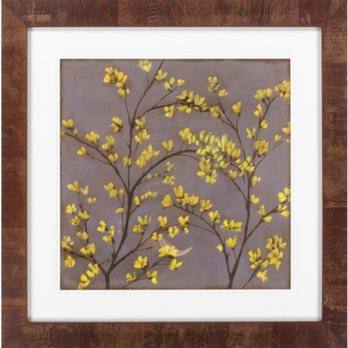 """30"""" x 30"""" """"Forsythia II"""" Coffee Brown and Butter Yellow Framed Wall Art Decor - IMAGE 1"""