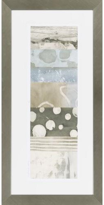 """43"""" x 22"""" Stone Blue and Cream White Abstract Wall Art Decor - IMAGE 1"""