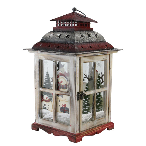 """17.5"""" Rustic Red Wooden Snowman Holiday Scene Christmas Pillar Candle Lantern - IMAGE 1"""