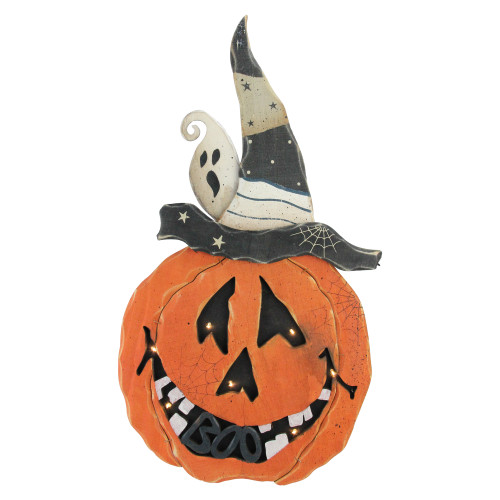 "25"" Black and Orange Battery Operated Pumpkin Halloween Decor - IMAGE 1"
