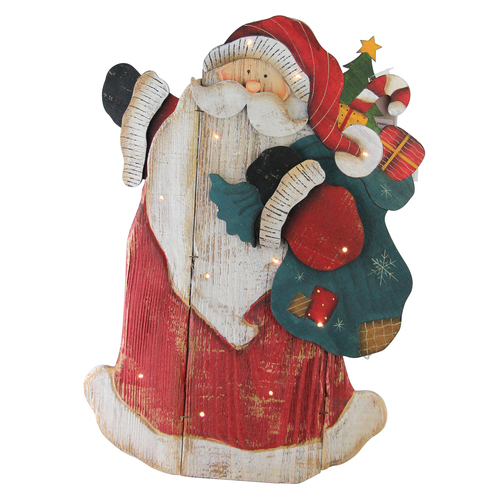 """19.5"""" Red Wooden Standing Santa Claus LED Lighted Christmas Decor - IMAGE 1"""