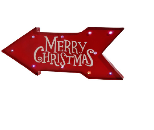 "23"" Battery Operated Lighted Color Changing Red Arrow Merry Christmas Sign - IMAGE 1"