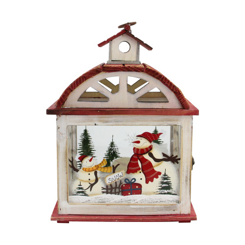 """14.5"""" Red and White Snowman Holiday Scene Christmas Candle Lantern - IMAGE 1"""