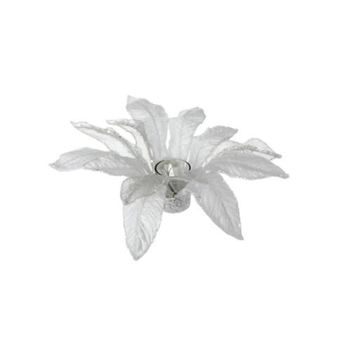 "13"" White Glittered Poinsettia Christmas Votive Candle Holder - IMAGE 1"