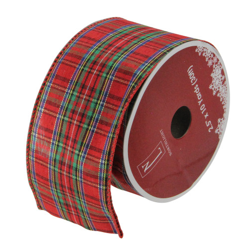"""Red and Green Stripe Wired Christmas Craft Ribbons - 2.5"""" x 12 Yards - IMAGE 1"""