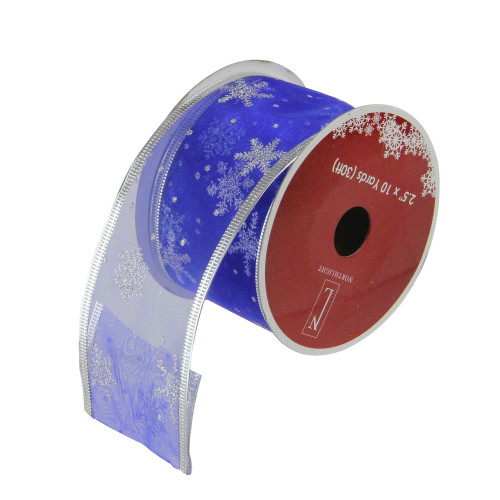 "Club Pack of 12 Blue and Silver Glitter Snowflakes Wired Craft Ribbons 2.5"" x 120 Yards - IMAGE 1"