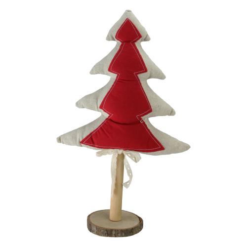 "14"" Red and Brown Christmas Tree Tabletop Decor - IMAGE 1"