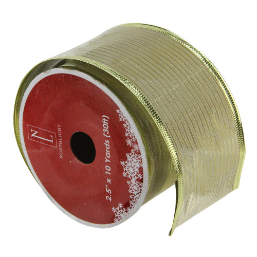 "Club Pack of 12 Shimmery Gold Wired Christmas Craft Ribbon Spools 2.5"" x 120 Yards - IMAGE 1"