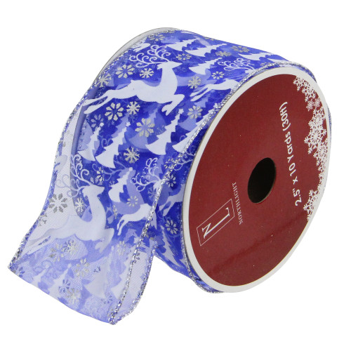 "Blue Winter Wonderland Flying Reindeer Wired Christmas Craft Ribbon 2.5"" x 120 Yards - IMAGE 1"