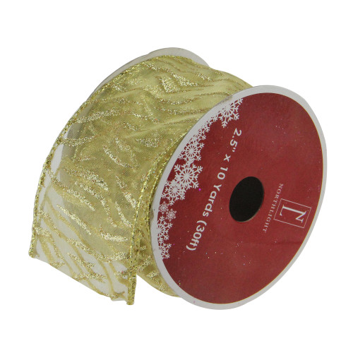 """Sparkling Gold Lines Wired Christmas Craft Ribbons - 2.5"""" x 120 Yards - IMAGE 1"""