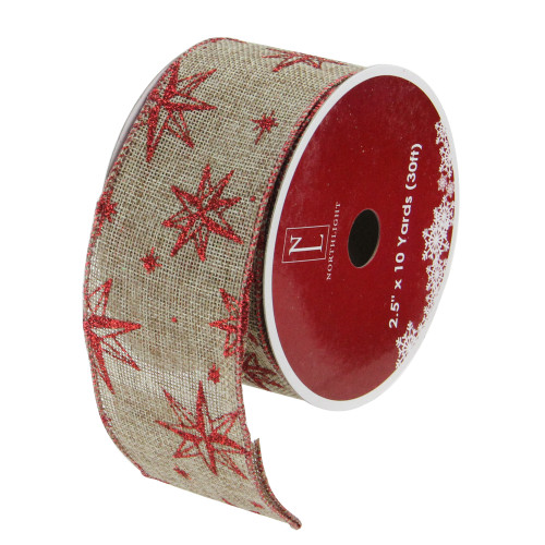 """Pack of 12 Red and Beige Star Christmas Wired Craft Ribbons - 2.5"""" x 120 Yards - IMAGE 1"""
