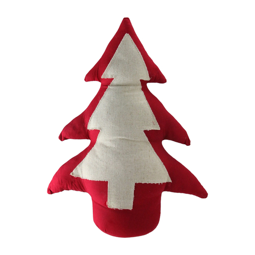 """15"""" Red and White Contemporary Christmas Tree Tabletop Decor - IMAGE 1"""