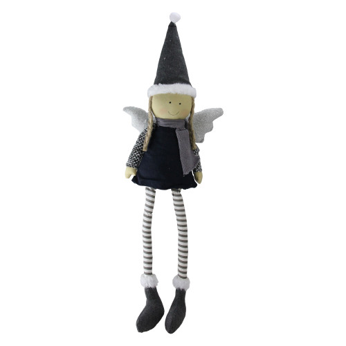 """26.5"""" Blue and White Angel with Dangling Legs Christmas Figurine - IMAGE 1"""