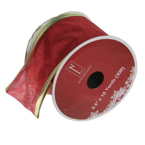 "Pack of 12 Textured Red and Gold Wired Craft Ribbon 2.5"" x 120 Yards - IMAGE 1"