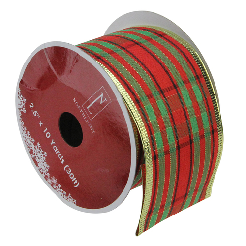 """Pack of 12 Red and Green Striped Christmas Wired Craft Ribbons - 2.5"""" x 120 Yards - IMAGE 1"""