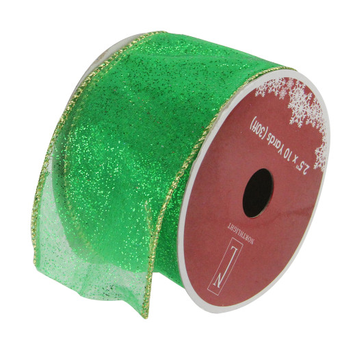 """Club Pack of 12 Green and Gold Shimmering Wired Christmas Craft Ribbon 2.5"""" x 120 Yards - IMAGE 1"""