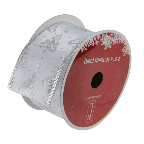 """Pack of 12 Pearl White and Silver Glitter Trees Wired Christmas Craft Ribbon Spools - 2.5"""" x 120 Yards Total - IMAGE 1"""
