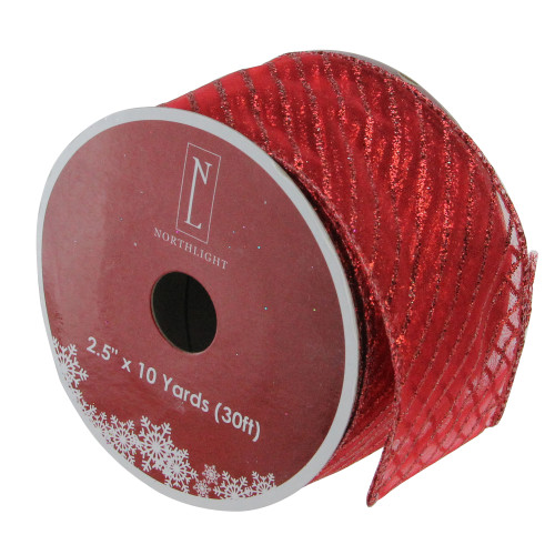 """Club Pack of 12 Glittered Red Wired Christmas Craft Ribbons - 2.5"""" x 10 Yards - IMAGE 1"""