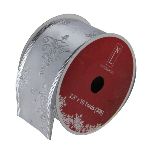 "Silver Glittering Trees Powder Blue Wired Christmas Craft Ribbon 2.5"" x 120 Yards - IMAGE 1"