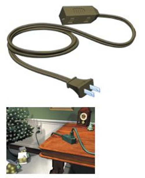 9' Westinghouse Brown 3-Outlet Indoor Extension Power Cord with Safety Cover - IMAGE 1