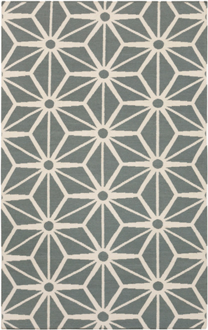 2' x 3' Shimmering Star Gray and Ivory Hand Woven Rectangular Wool Area Throw Rug - IMAGE 1