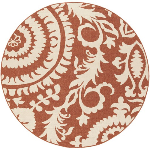 8.75' Brown and Beige Floral Shed-Free Round Area Throw Rug - IMAGE 1