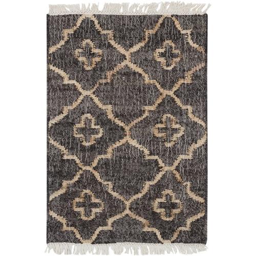 2' x 3' Balkan Modesty Sand Brown and Charcoal Black Hand Woven Area Throw Rug - IMAGE 1