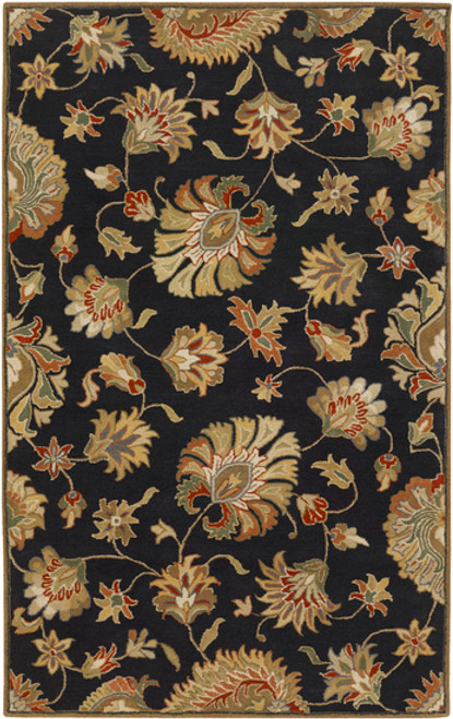 7.5' x 9.5' Black and Brown Contemporary Hand Tufted Floral Rectangular Wool Area Throw Rug - IMAGE 1