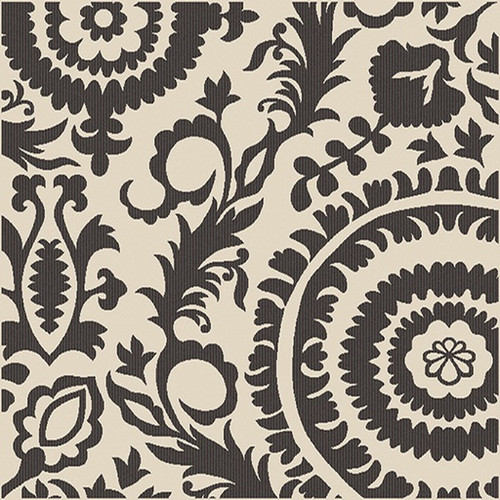 8.75' x 8.75' Beige and Black Floral Shed-Free Square Area Throw Rug - IMAGE 1