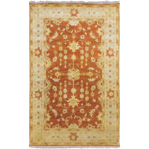2' x 3' Victorian Jewels Queen's Gold and Ruby New Zealand Wool Hand Knotted Area Throw Rug - IMAGE 1